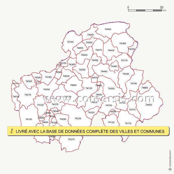 Carte des codes postaux de la haute savoie for Savoie code postal