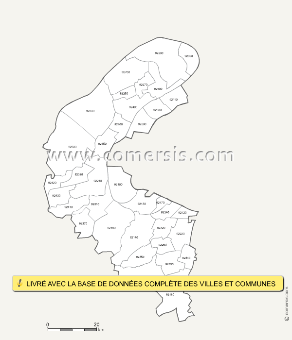 Carte des codes postaux des hauts de seine for Code postal de besancon