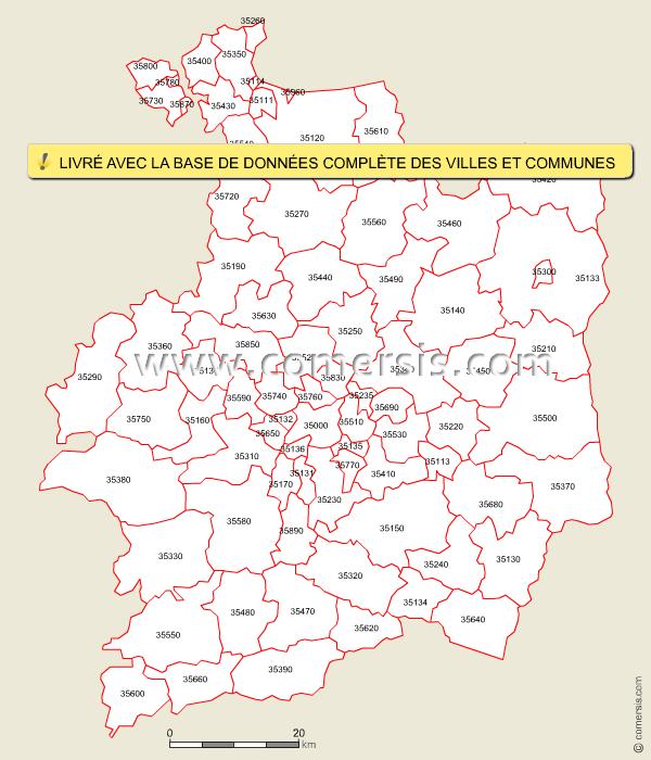 carte des codes postaux de l 39 ille et vilaine