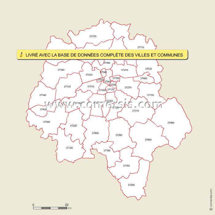 carte des codes postaux d 39 indre et loire