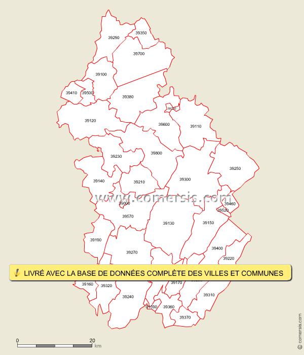 Carte des codes postaux du jura for Code postal de besancon