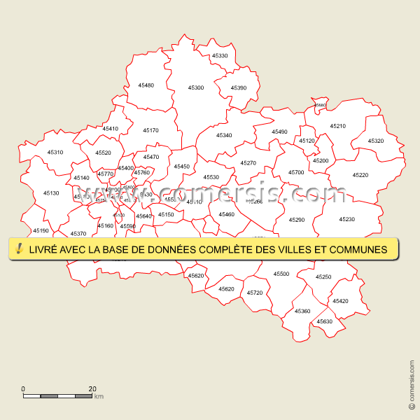 Carte des codes postaux du loiret for Region du loiret