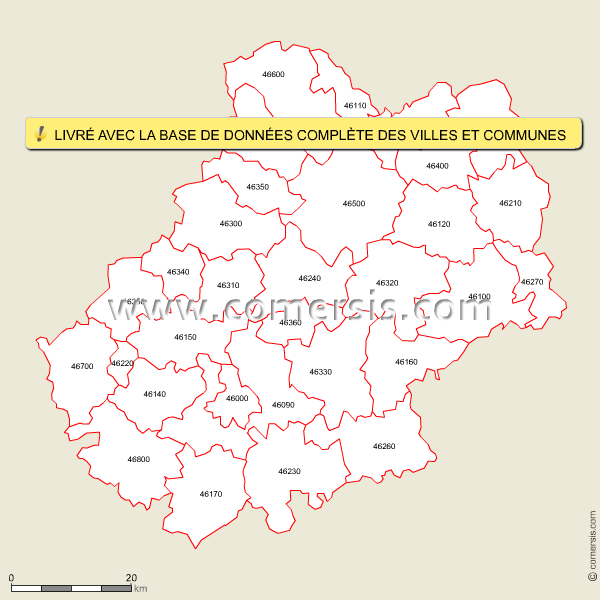 Carte des codes postaux du lot for Code postal boulay moselle