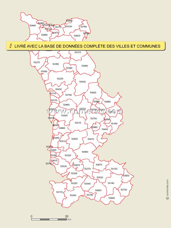 Carte des codes postaux de la manche for Code postal de nevers