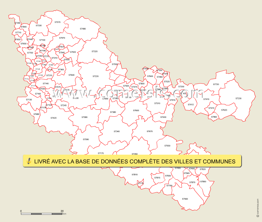 Carte des codes postaux de la moselle for Code postal culoz