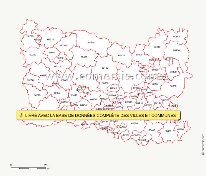 Carte des codes postaux de l 39 oise for Code postal de nevers