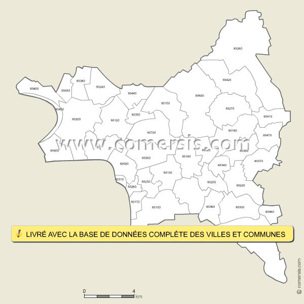 Carte des codes postaux de la seine saint denis for La meziere code postal