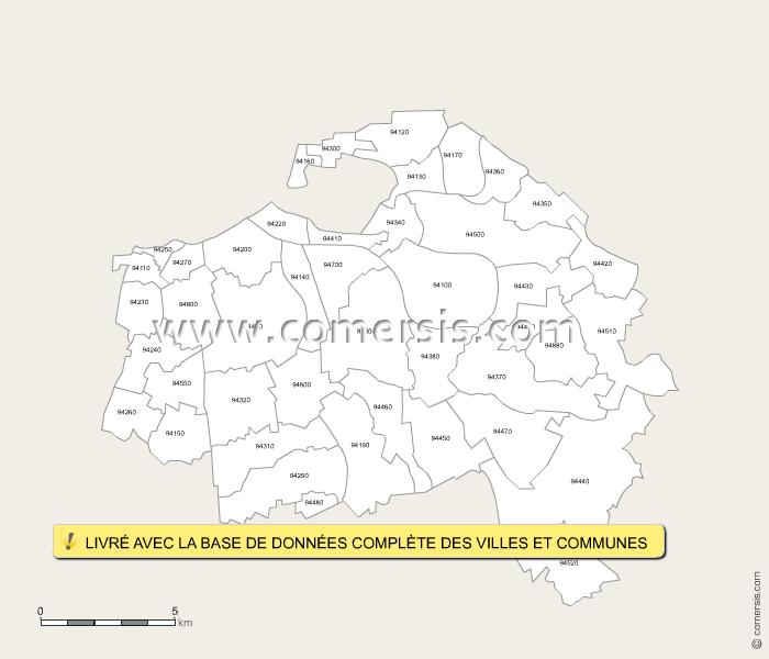 Carte des codes postaux du val de marne for Villecresnes code postal