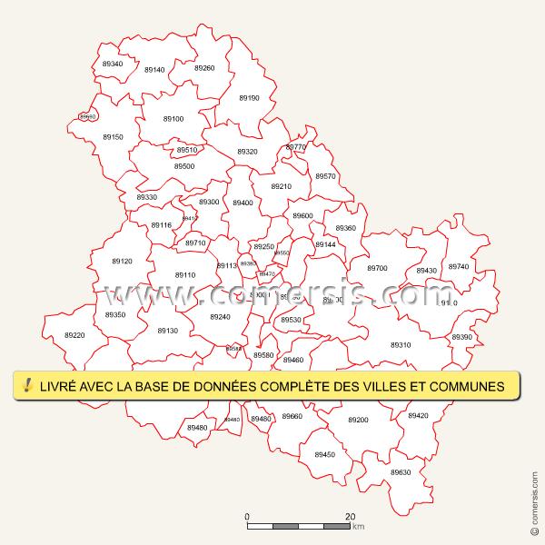 Codes postaux de l'Yonne