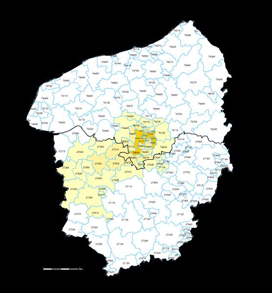 carte des codes postaux de haute normandie