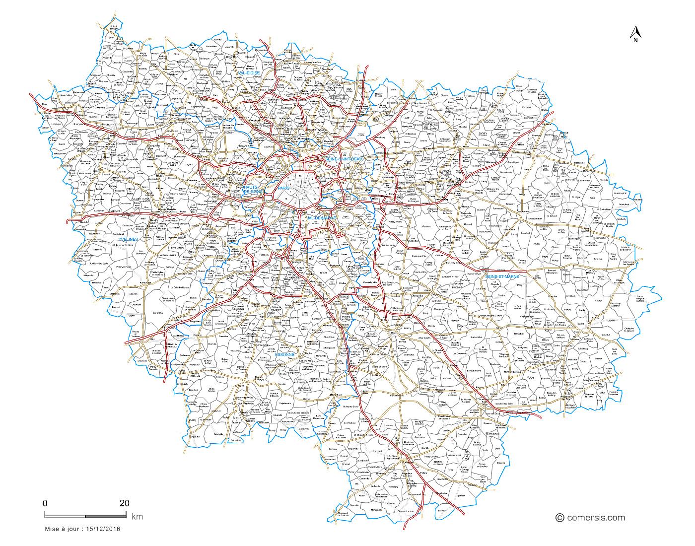 Carte des routes d'Île-de-France