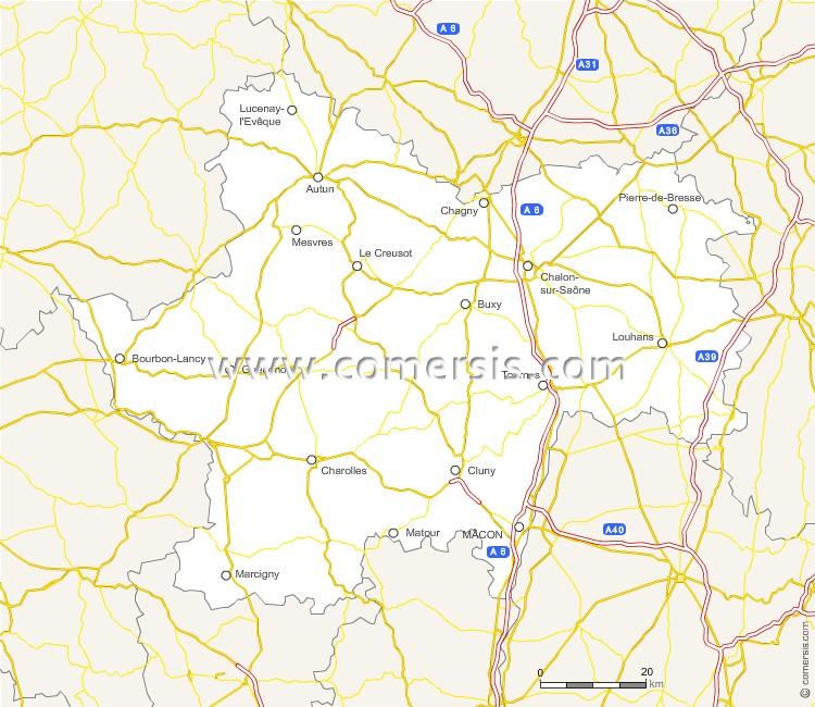 Routes de Sa�ne-et-Loire