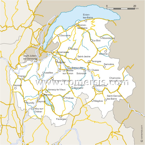Carte des routes de la haute savoie for 74 haute savoie carte