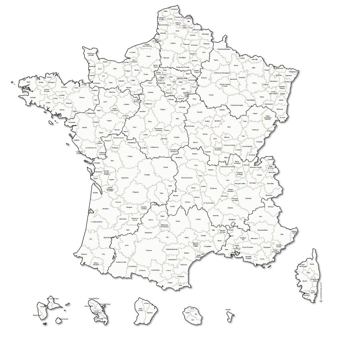 Carte des zones d'emploi de France