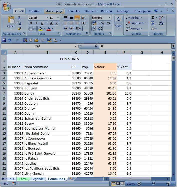 Exemple de communes Excel