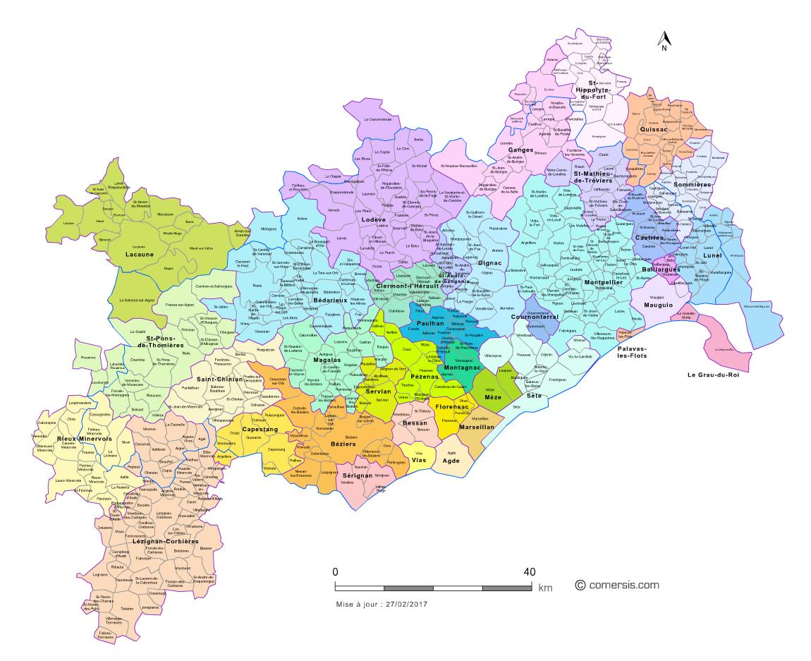 Carte des bassins de vie de l'Hérault