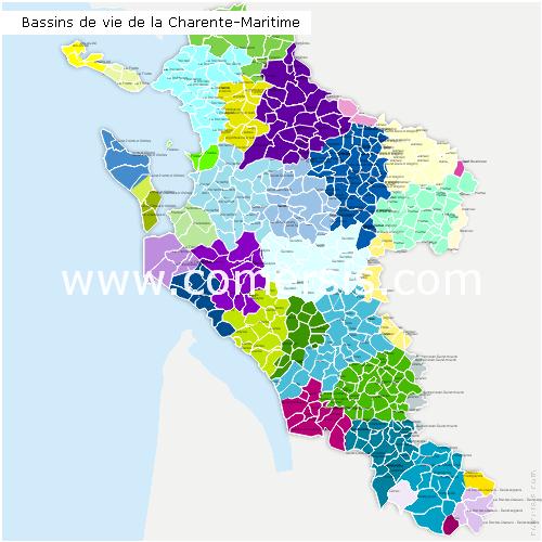 Carte des bassins de vie de la charente maritime for La meziere code postal