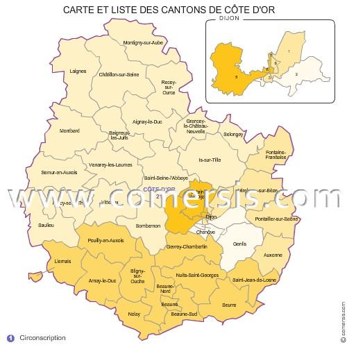 carte des nouveaux cantons de la c te d 39 or