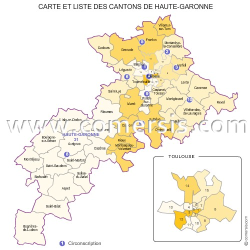 Carte des anciens cantons de la haute garonne for Haute garonne