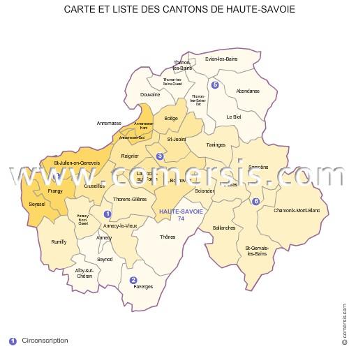 Carte des nouveaux cantons de la haute savoie for 74 haute savoie carte