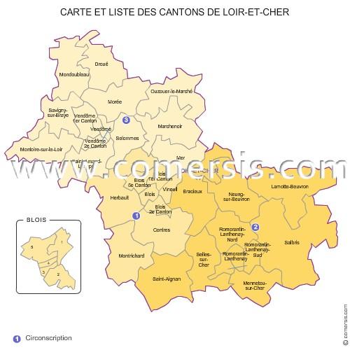 Carte des anciens cantons du loir et cher - Chambre des metiers du cher ...