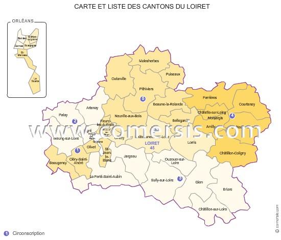 Carte des anciens cantons du loiret for Region du loiret