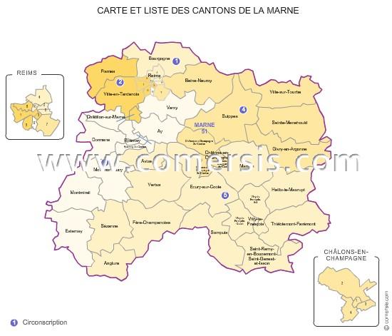Carte des anciens cantons de la marne for Plan de la marne 51