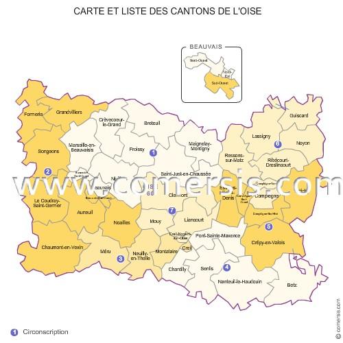 Carte des anciens cantons de l'Oise
