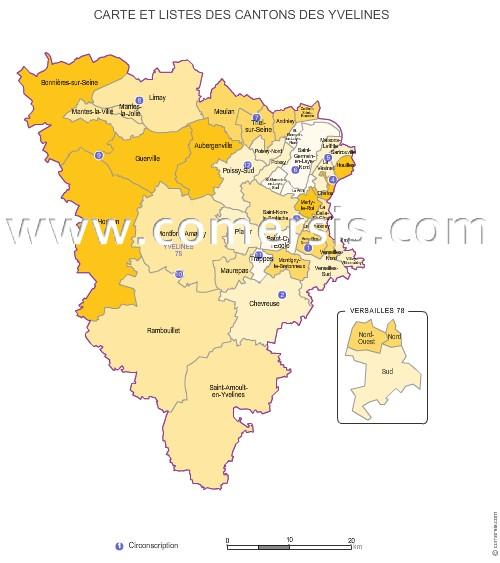 Carte des anciens cantons des yvelines for Villes des yvelines