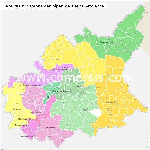 Carte nouveaux cantons des alpes de haute provence 2015 - Office du tourisme alpes de haute provence ...