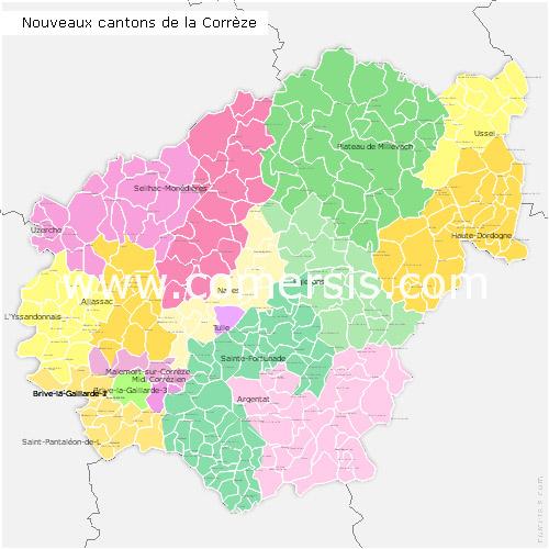 nouveaux cantons de la Corrèze pour Word et Excel