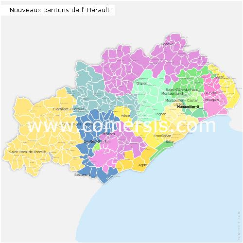 Carte nouveaux cantons de l'Hérault 2015 pour Word et Excel