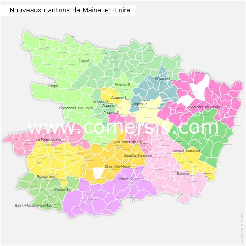 Carte nouveaux cantons du maine et loire 2015 pour word et excel - Office de tourisme maine et loire ...