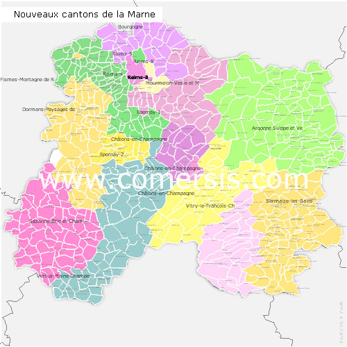 Marne counties map with names ( France ) for Word and Excel.