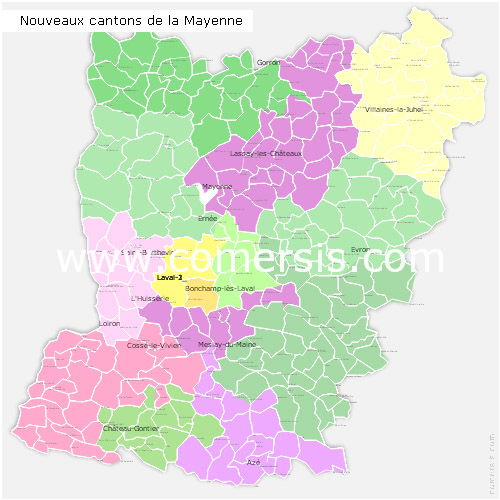 nouveaux cantons de la Mayenne 2015 pour Word et Excel