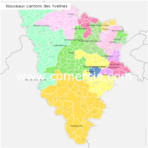 Yvelines counties map with names ( France ) for Word and Excel.