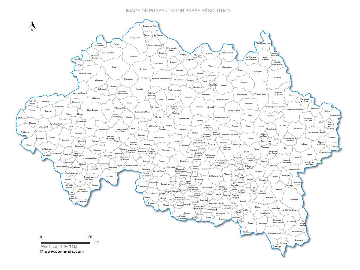 Carte communes de l 39 allier 03 for Villecresnes code postal