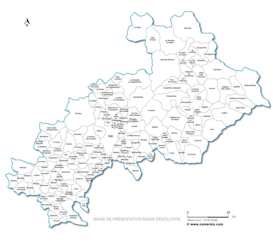 carte des communes des Hautes-Alpes