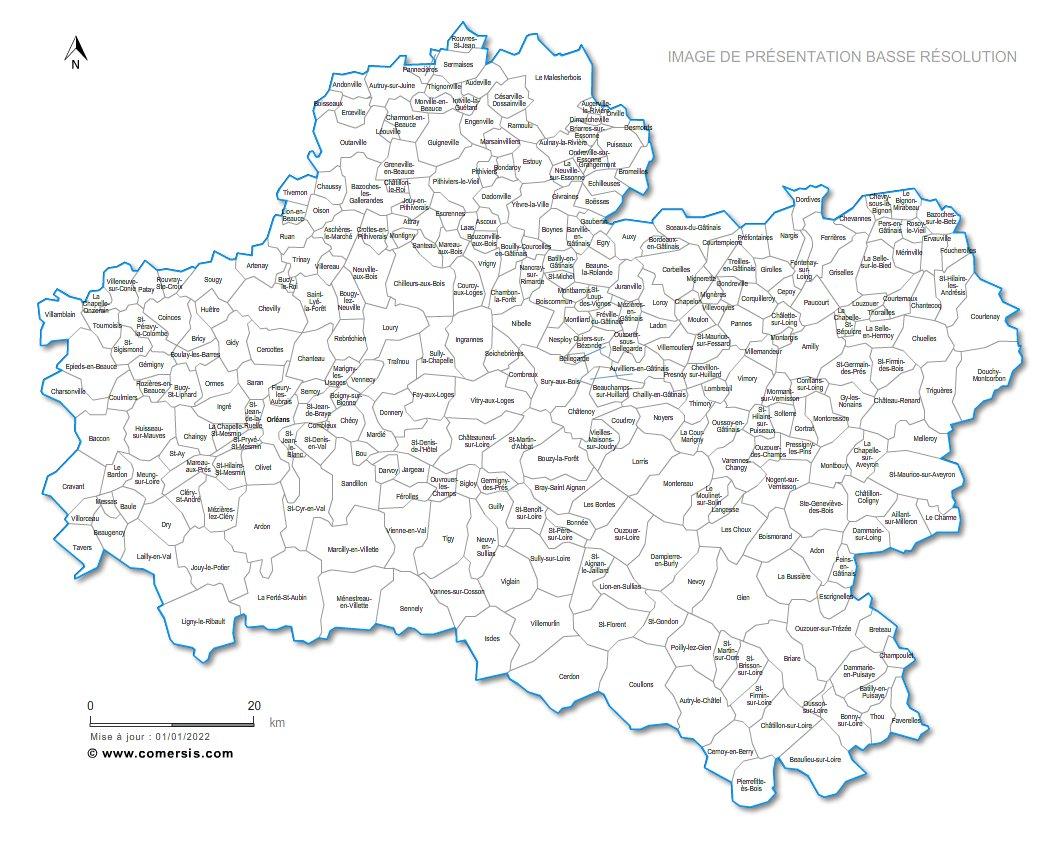 carte des communes du Loiret
