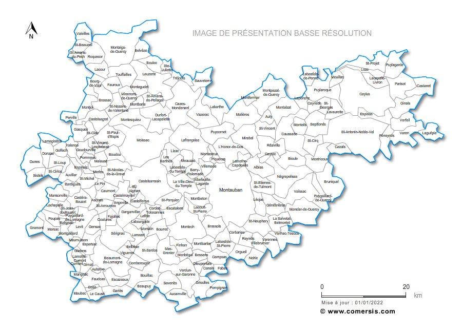 carte des communes du Tarn-et-Garonne