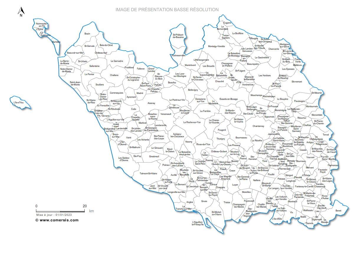 carte des communes de la Vend�e