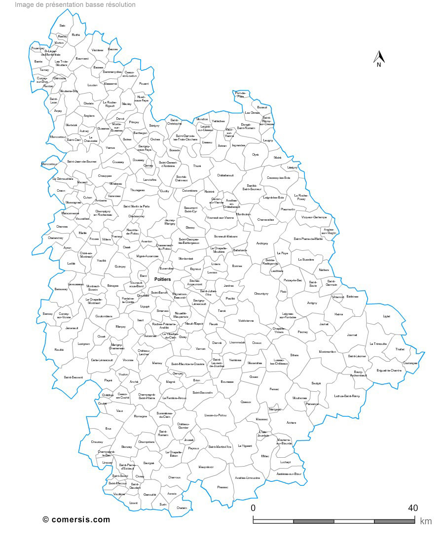 carte des communes de la Vienne