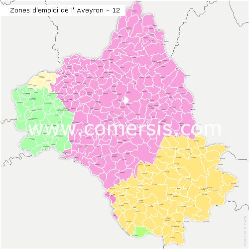Zones d'emploi de l'Aveyron