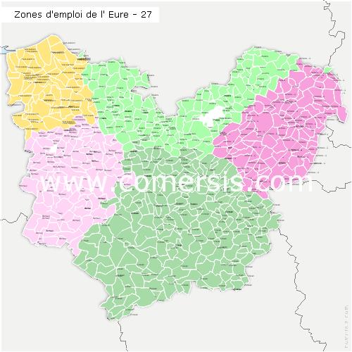 Zones d'emploi de l'Eure
