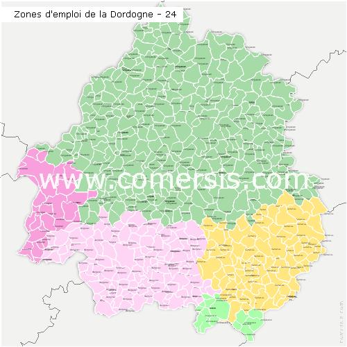 Zones d'emploi de la Dordogne