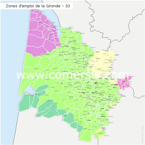 Zones d'emploi de la Gironde