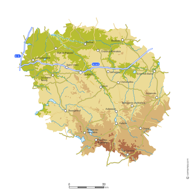 Carte du relief de la Creuse