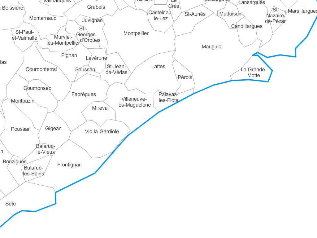 Carte personnalisable des villes et communes de l'Hérault