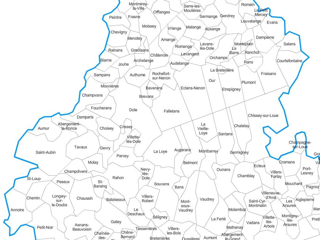 Carte personnalisable des villes et communes du Jura