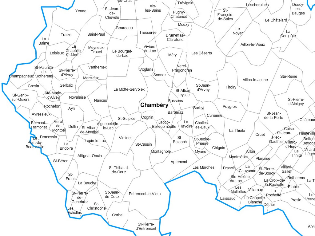 Carte personnalisable des villes et communes de la Savoie